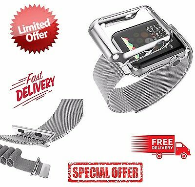 Apple Watch Band + Silver Plated Case 42mm Biaoge Steel Loop Milanese Wrist Band