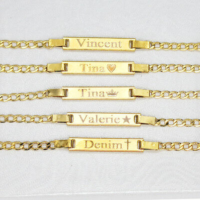 18K Gold Filled Baby ID Bracelet With Free Engraving 6' adjustable Chain in NYC