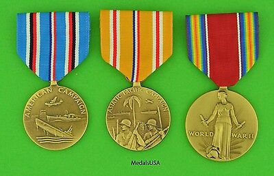 3 WWII US Medal set - American & Asiatic Pacific Theater Service - WW2 Campaign