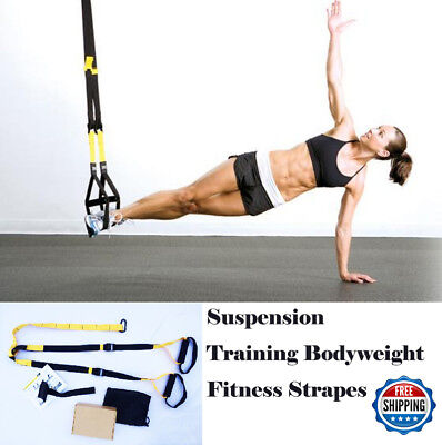 Suspension Trainer Bodyweight Exercise System Fitness Gym Strap Same as TRX Pink