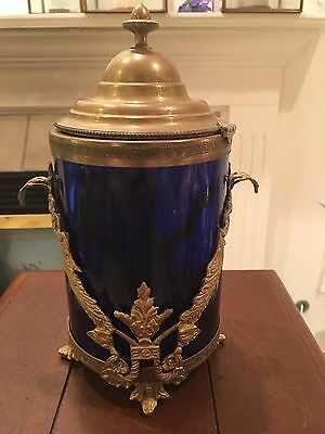 Brass and Blue Glass Ornate Tea Caddy