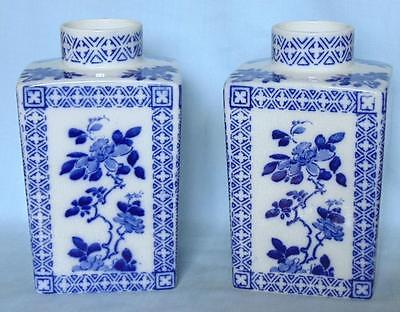 Pair Of Antique Blue & White Vases Kang Hsi Ware Thomas Forester  Staffordshire