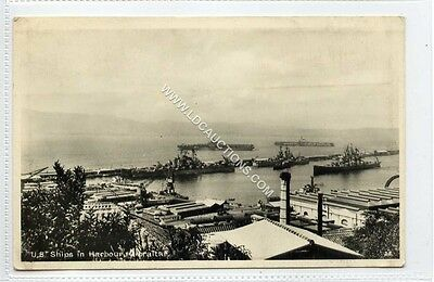 (Ga1776-460) Real Photo U.S. Ships in Harbour, GIBRALTAR c1950 VG