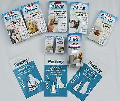 Clear Products Flea treatments, Spot on, Flea Bombs & Pestroy