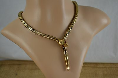 VINTAGE 1940s brass snake chain necklace with paste set snake head and tail