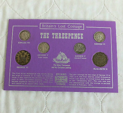 20th CENTURY 3 PENCE 6 COIN COLLECTION E7 - QEII SILVER AND BRASS