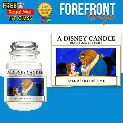 Personalised Beauty and the Beast/Disney Candle label/sticker, Perfect bday gift