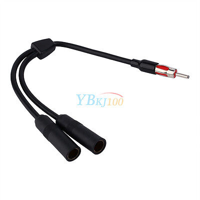 12ft Auto Car 2 Female to 1 Male Radio Antenna Splitter Extension Wire Connector