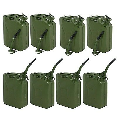 Lot 8~ Jerry Can Green 20L 5 Gallon Backup Steel Tank Fuel Gasoline Military