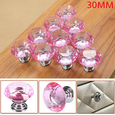 10X 30MM Crystal Glass Door Knobs Furniture Drawer Cabinet Kitchen Handles Pink