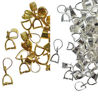 10-50 Silver Gold Pendant Pinch Bails Clasp Metal Clips Craft DIY 14/18/20/26MM