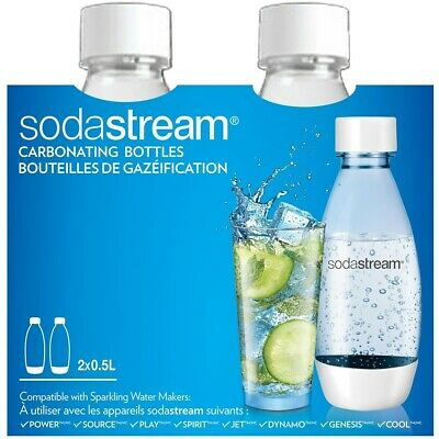 SodaStream 2 X Carbonating Bottles 0.5L Liter EXPIRE in 3 YEARS BPA Safe White