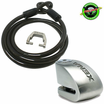 Xena 1.5m Cable and XX14 Alarm Motorcycle Disc Lock 120db