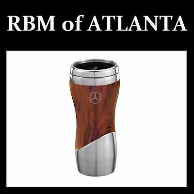 Genuine Mercedes Benz Double Wall Stainless Steel and Wood Grain Mug Tumbler