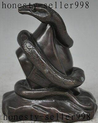 Chinese FengShui Bronze Copper Wealth Yuanbao Cobra snake Serpent Lucky Statue