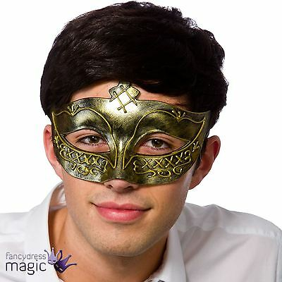 Adult Mens Antique Gold Gladiator Opera Masquerade Venetian Eye Mask Fancy Dress