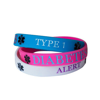 CHILD SIZE DIABETES TYPE 1 MEDICAL wristband silicone bracelet bangle AWARENESS