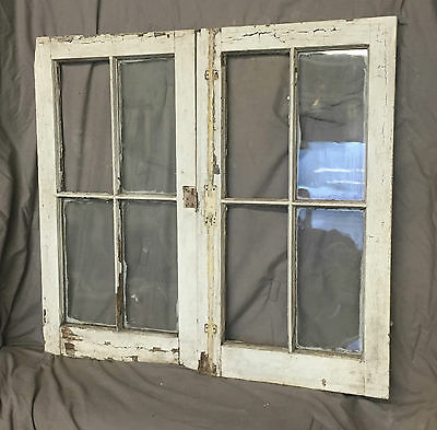 Pr Antique Casement Windows Pantry Cupboard Door Shabby Old Chic Vtg 1217-16