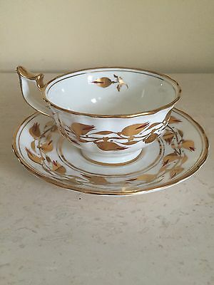 Royal Chelsea Tea Cup Saucer Fine Bone China England 348 3A Gold Flowers Vine