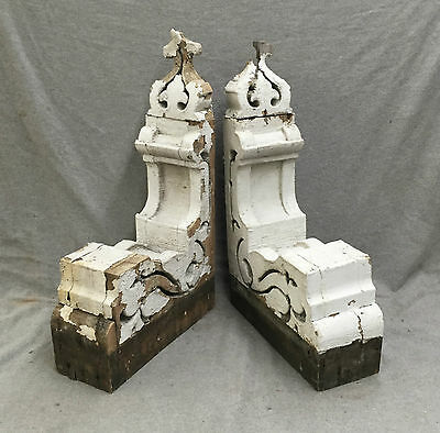 Antique Pair Wood Corbels Gingerbread Shabby Old Cottage Chic Vtg 1232-16