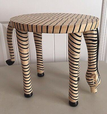 Grazing Zebra Hand Carved Wood Table Stool with Swivel Tail EUC!