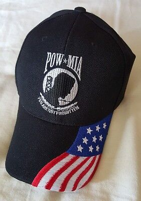 5c3ab339cdf POW MIA You Are Not Forgotten Baseball Cap Hat With American Flag On Bill