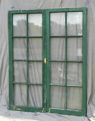Pr Antique Casement Windows Pantry Cupboard Door Shabby Bookcase Vtg 1238-16