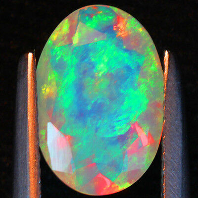 1.41  Carats Oval Facet Peacock Patern Solid Welo Opal