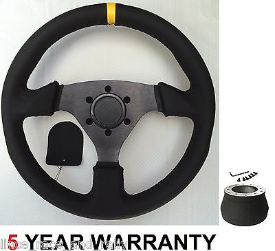 Genuine Leather Race Drift Racing Rally Steering Wheel & Boss Kit For Bmw E30