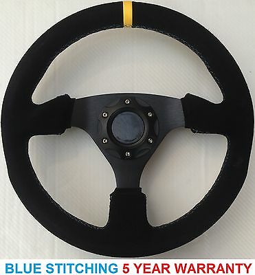 Blue Stitch Suede Drift 330Mm Steering Wheel Fit Omp Momo Sparco Boss Kit