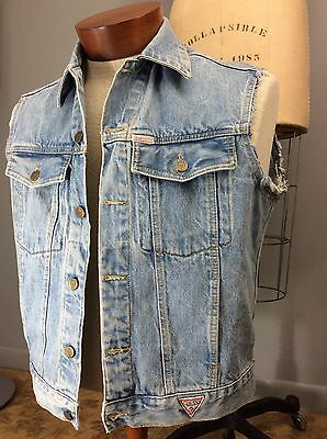 Vtg 80s Guess USA Denim No Sleeves Jacket Vest Trucker America Embroidered Flag