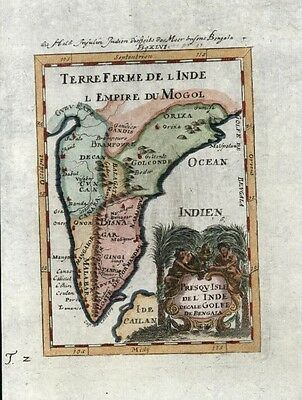 India Mogol Empire 1719 charming decorative small antique engraved jewel map