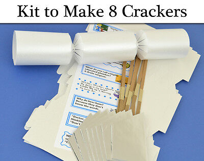 8 Pearlescent White Make & Fill Your Own Cracker Making Craft Kit