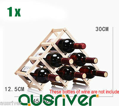 Portable Smooth Wood Foldable Wine Rack Stand Bottle Holder Shelf For 6 Bottles