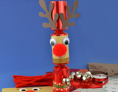 8 Jingle & Wobble Standy Uppy Rudolph Make Your Own Christmas Crackers Kit