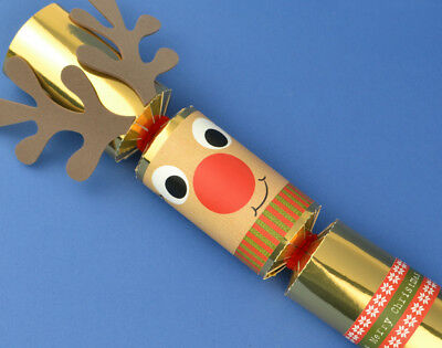 8 Gold Foil Standy Uppy Rudolph Make Your Own Christmas Crackers Kit