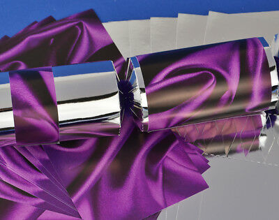 8 Silver & Purple Silk Make & Fill Your Own Party Crackers Kit