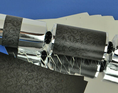 8 Silver Foil & Black Damask Make & Fill Your Own Party Crackers Kit