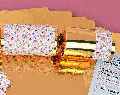 8 Gold Foil Kids Rainbow Unicorn Make & Fill Your Own Crackers Kit