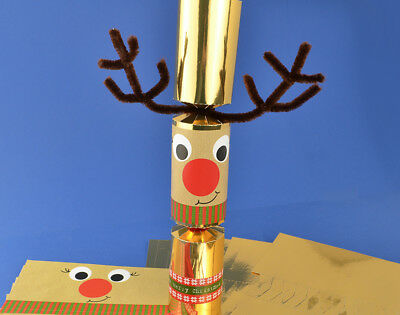 8 Gold Foil Wobbly Standy Uppy Rudolph Make Your Own Christmas Crackers Kit