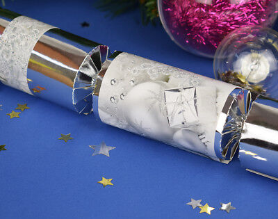 8 Silver Foil Christmas Make & Fill Your Own Party Crackers Craft Kit