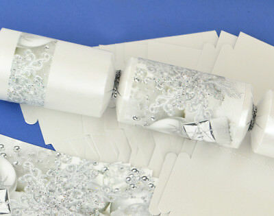 8 Pearl White & Silver Christmas Make & Fill Your Own Crackers Kit