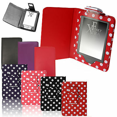 For AMAZON KINDLE 4 / 4th & TOUCH 7 / 8 LEATHER CASE COVER WALLET WITH LIGHT