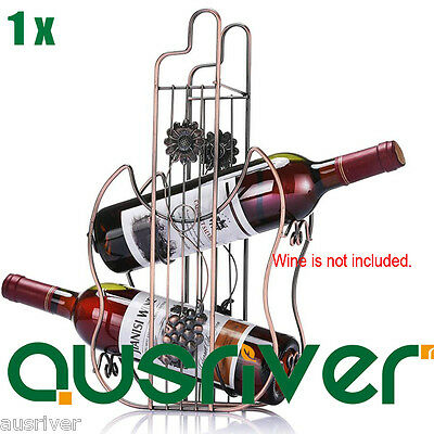 Brand New Metal Wine Rack Storage Elegant Champagne Stand Holder for 2 Bottles
