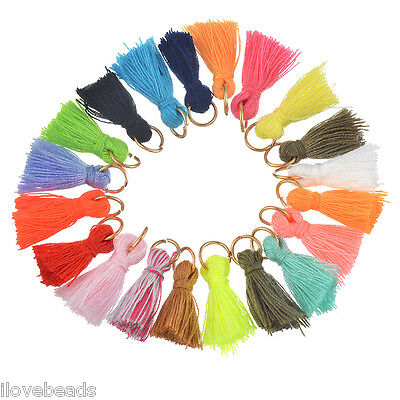 LOVE 50x Mixed Color Mini Tassel DIY Earing Necklace Garment Accessories 1.5cm