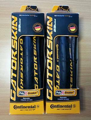 Pair (2) of Continental Gatorskin All Black Folding Cycling Tyres