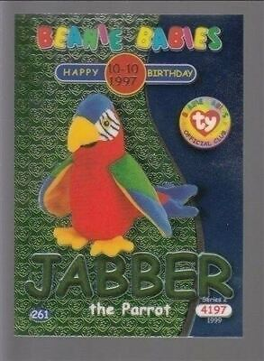 1999 TY Beanie Babie Series 2 Birthday/Rookie Card Jabber Green #261