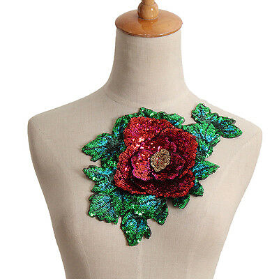 Flower Sequined Tulle Collar Applique Patch Motif Sew On Green Bust Embroidered
