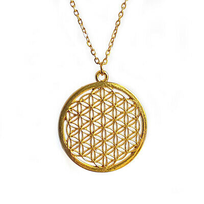 Flower of Life Pendant Seed of Life Necklace Round 26inch Oval Gold Plated Chain