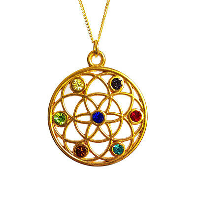 Flower of Life Pendant Seed Necklace Round 17inch Gold Plated Fine Chain